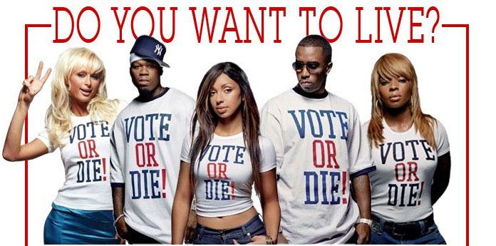 """Vote or Die Shirt """"vote or Die"""