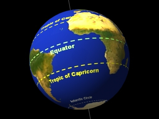 Tropic Of Capricorn On World Map.The Rainforest