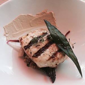 Grilled swordfish  asparagus  rhubarb vinaigrette  pickled ramps  farro   marcona almond pur%c3%a9e