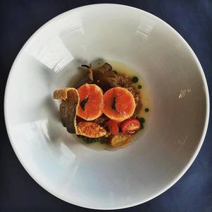 Poached wild coho  wheatberry  smoked rillette  wakame  tomato dashi