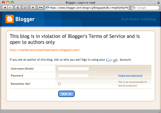 Blogger Message: This blog is in violation of Blogger's Terms of Service and is open to authors only
