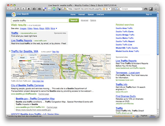 Live Search Traffic Results Screenshot