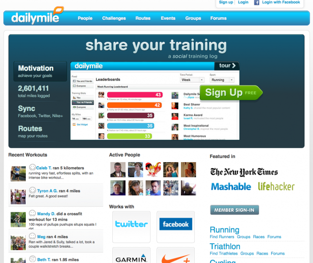 Niche Social Networks - dailymile