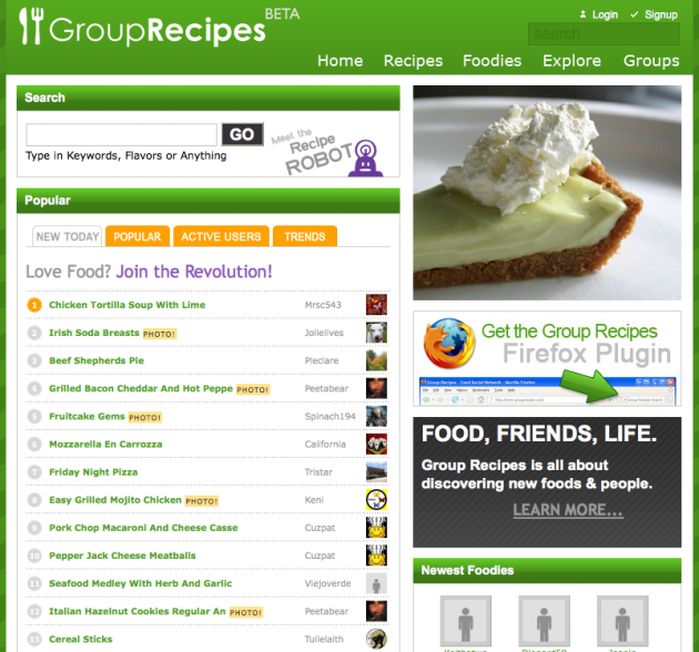 Niche Social Networks - group recipes