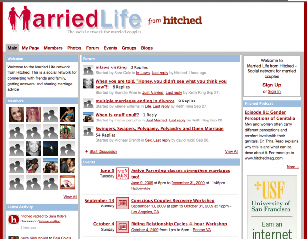 Niche Social Networks - married life