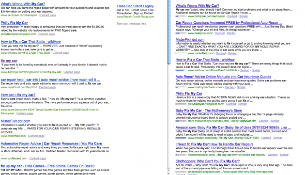 SERP comparison of Bing and Google