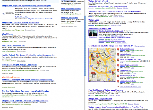 side-by-side comparison of Bing and Google
