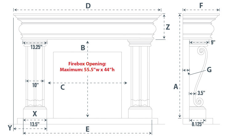 Adare Majestic Series Stone Fireplace Mantel