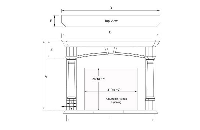 Aspire Standard Series Stone Fireplace Mantel