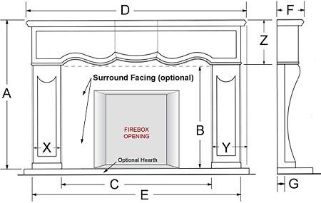 Surrey Classic Series Stone Fireplace Mantel