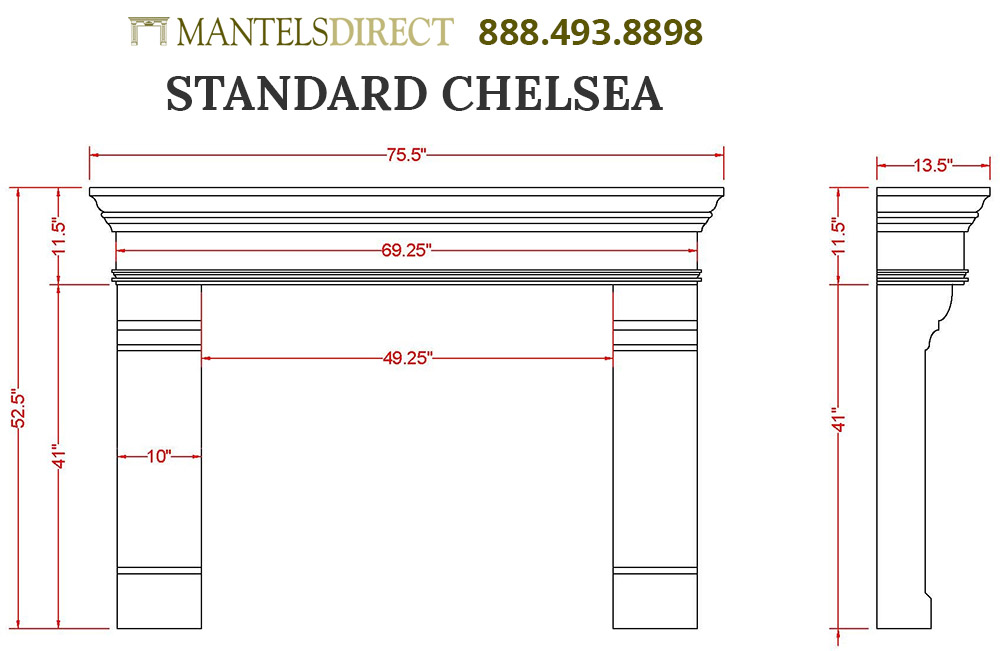 Chelsea Classic Series Stone Fireplace Mantel