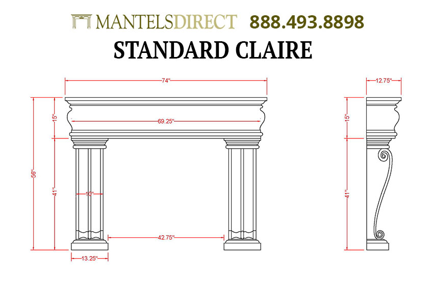 Claire Classic Series Stone Fireplace Mantel