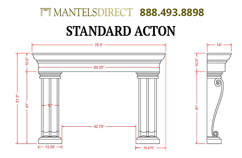 Acton Classic Series Stone Fireplace Mantel