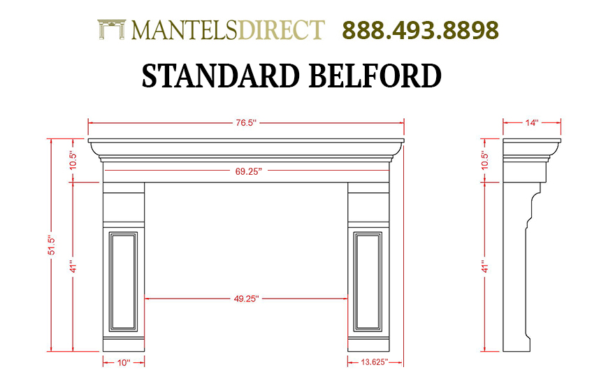Belford Classic Series Stone Fireplace Mantel