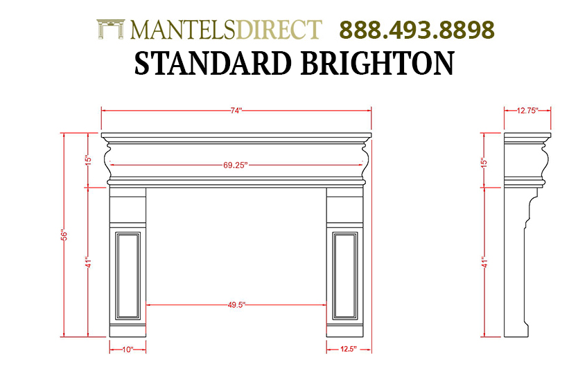 Brighton Classic Series Stone Fireplace Mantel