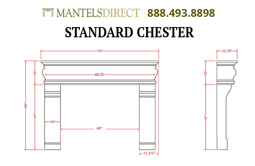 Chester Classic Series Stone Fireplace Mantel