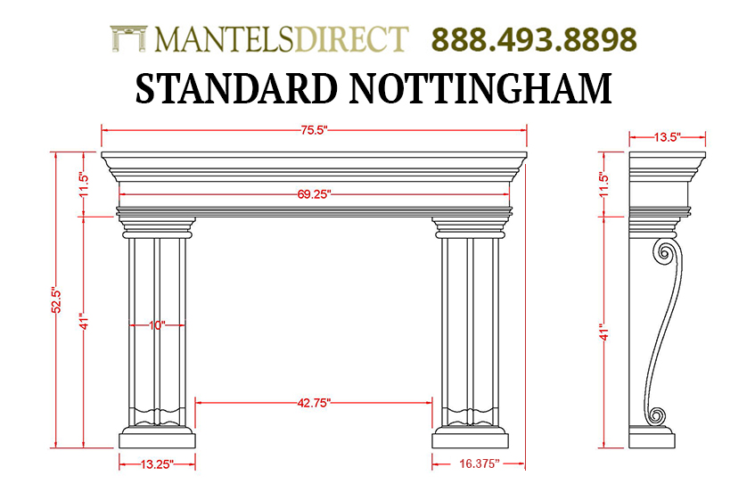 Nottingham Classic Series Stone Fireplace Mantel