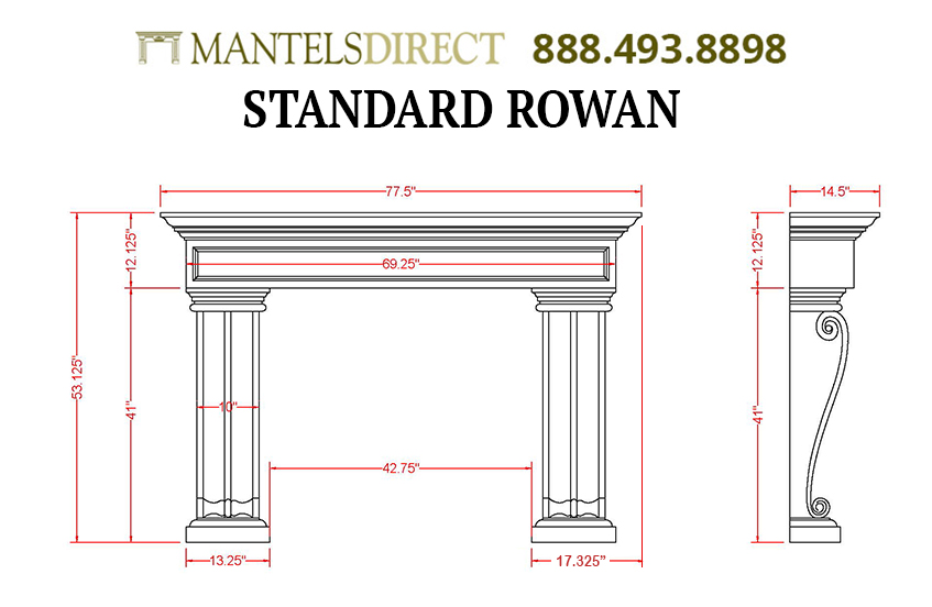 Rowan Classic Series Stone Fireplace Mantel