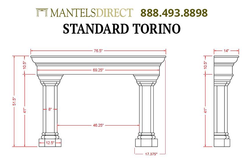 Torino Classic Series Stone Fireplace Mantel
