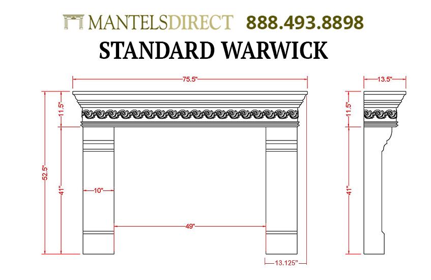 Warwick Classic Series Stone Fireplace Mantel