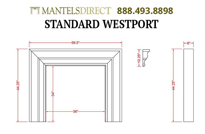 Westport Classic Series Stone Fireplace Mantel