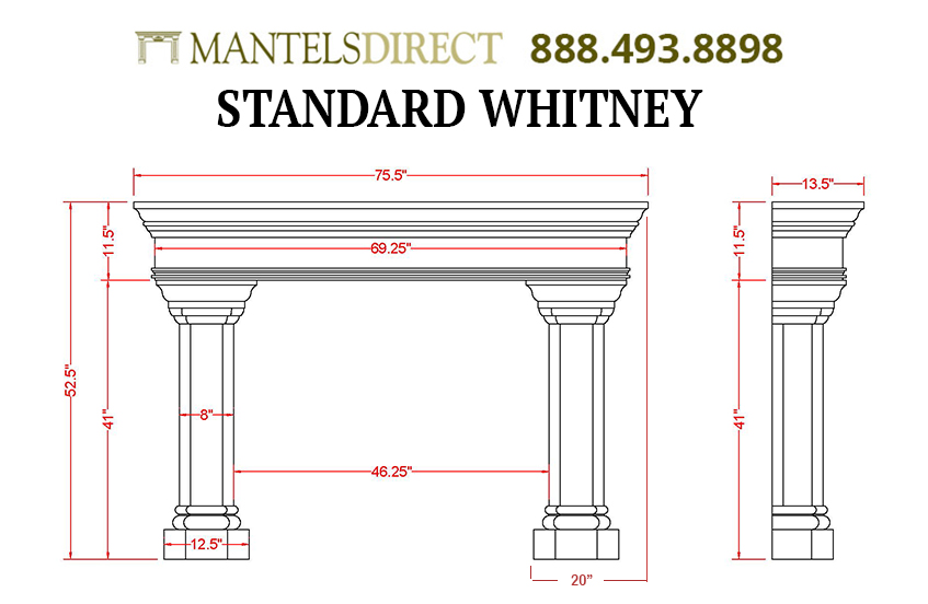Whitney Classic Series Stone Fireplace Mantel