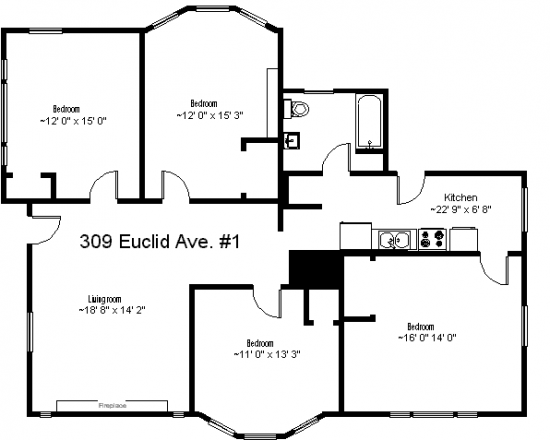 Bedroom Apartment Building at  - 309 Euclid Avenue Syracuse, NY 13210 USA image 2
