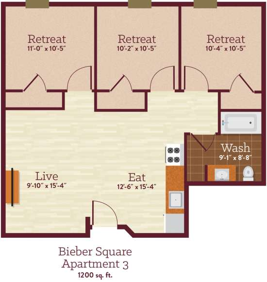 Bedroom Apartment Building at  - 88 Bieber Aly, Kutztown, PA  19530, United States image 3