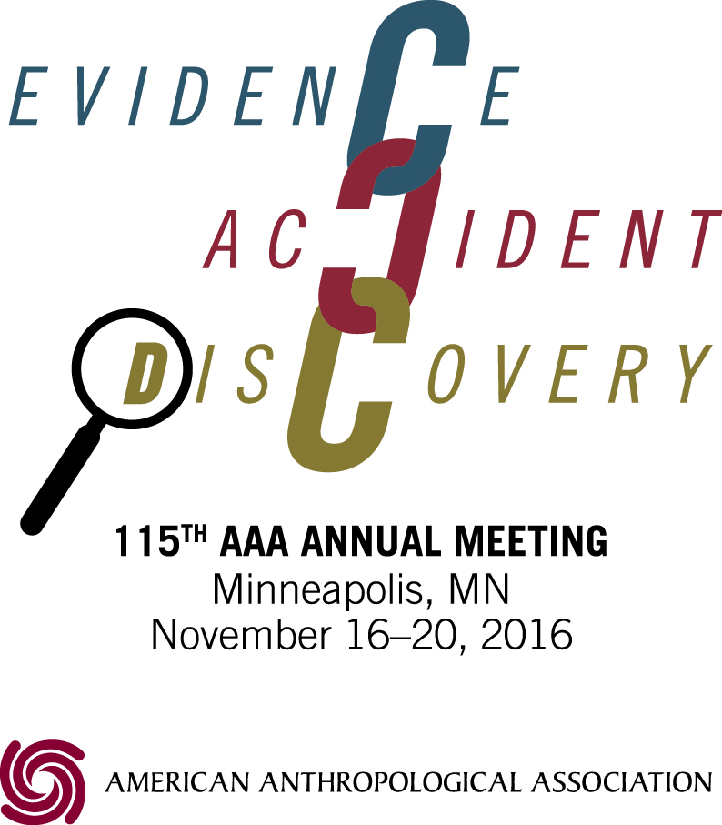 "2016 AAA Annual Meeting Logo. Text: Evidence, Accident, Discovery; 115th AAA Annual Meeting; Minneapolis, MN; November 16-20, 2016. The C's in the theme words are linked together like a chain. A magnifying glass is placed over the ""D"" of ""Discovery."""