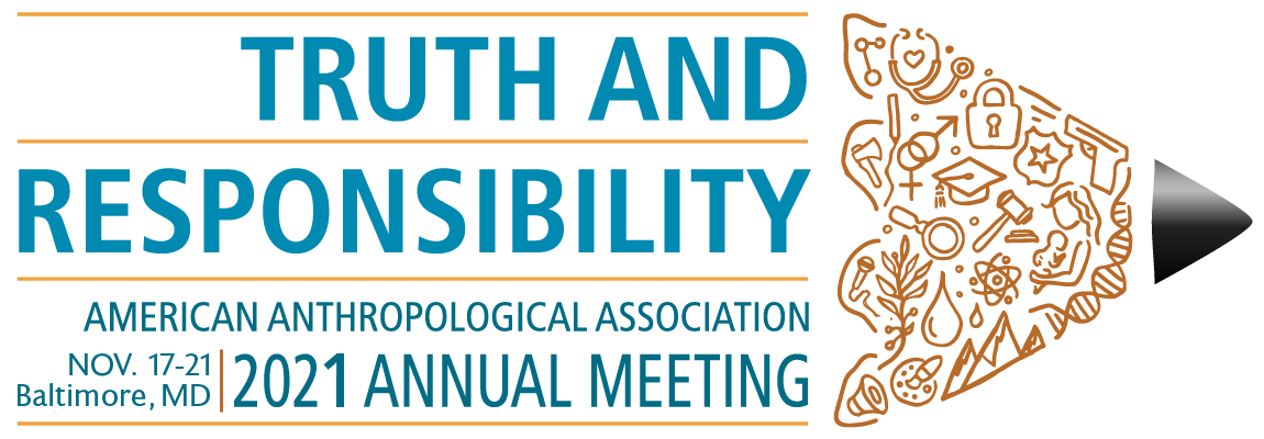 2021 AAA Annual Meeting Logo - Truth and Responsibility, American Anthropological Association, Nov. 17-21, Baltimore, MD, 2021 Annual Meeting, with all text placed inside a minimalistic design of a pencil with various symbol outlines drawn on the pencil tip.