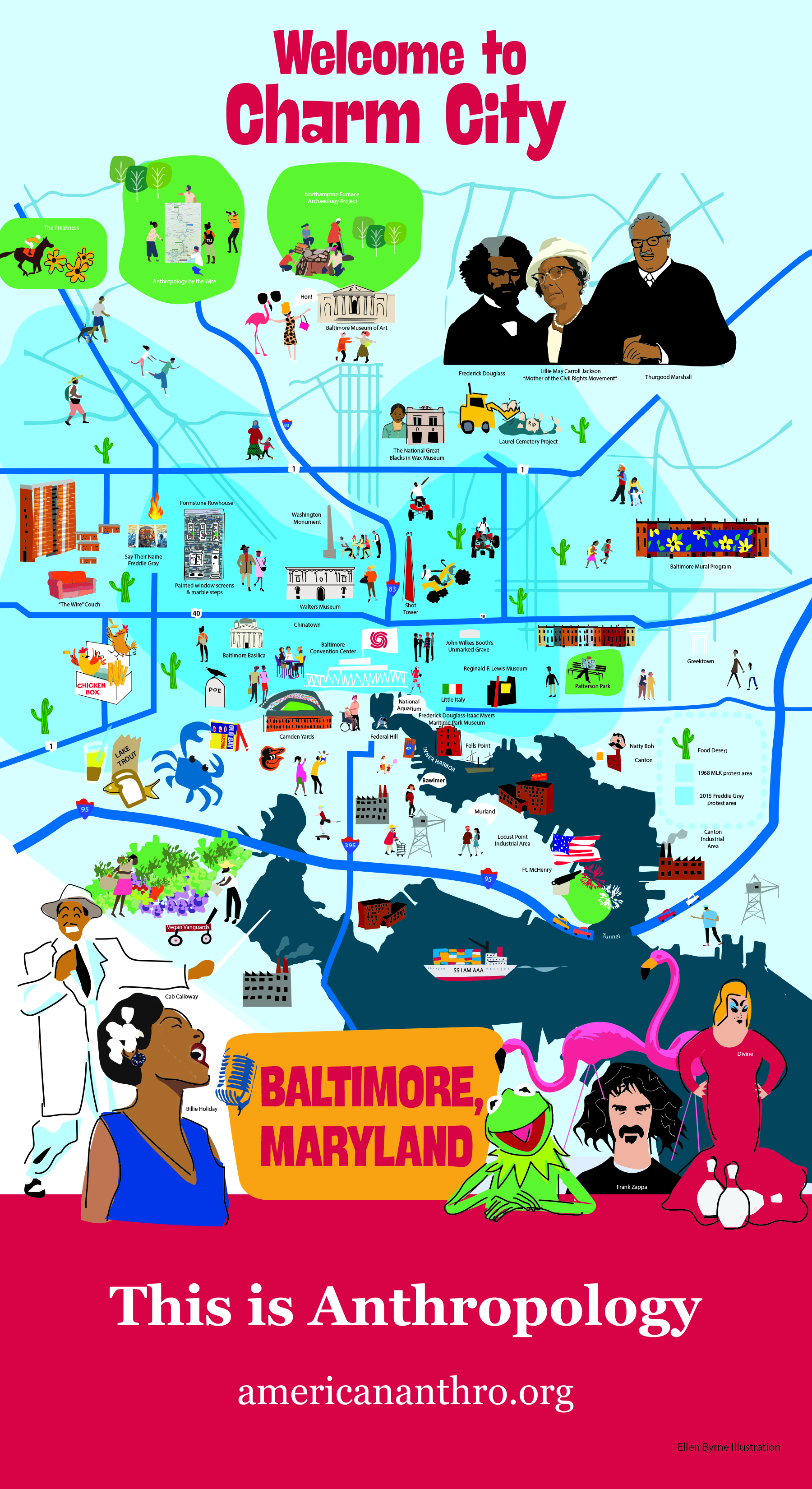 This is Anthropology postcard for the 2021 AAA Annual Meeting in Baltimore, Maryland