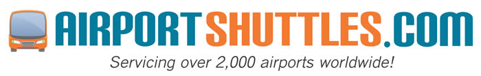 "AirportShuttles.com logo, with an icon of the front of a bus and text reading, ""Servicing over 2,000 airports worldwide!"""