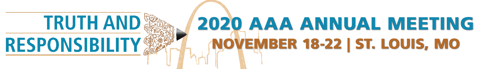 "2020 AAA Annual Meeting Logo. Reads ""Truth and Responsibility"" on top of a pencil outline with various images in the pencil head. November 18-22 