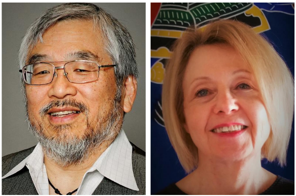A photo of Nathaniel Tashima (left) Cathleen Crain (right)