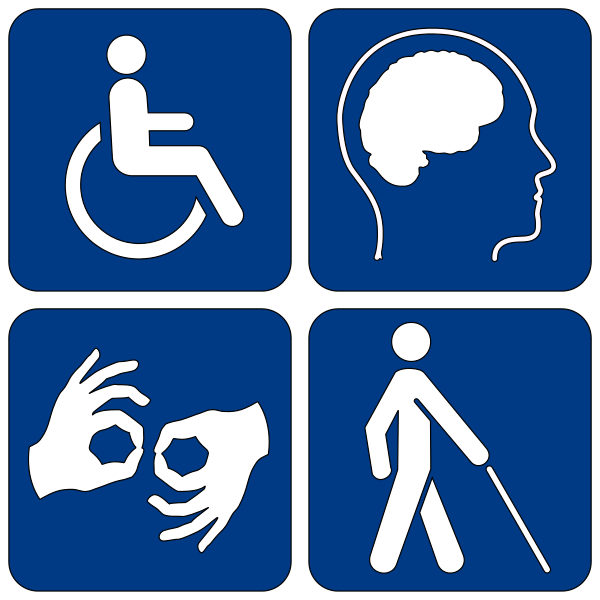 4 disability symbols in white on blue blocks: the wheelchair logo, a human profile with a brain silhouette, an ASL interpreter sign, and a stick figure with a white cane