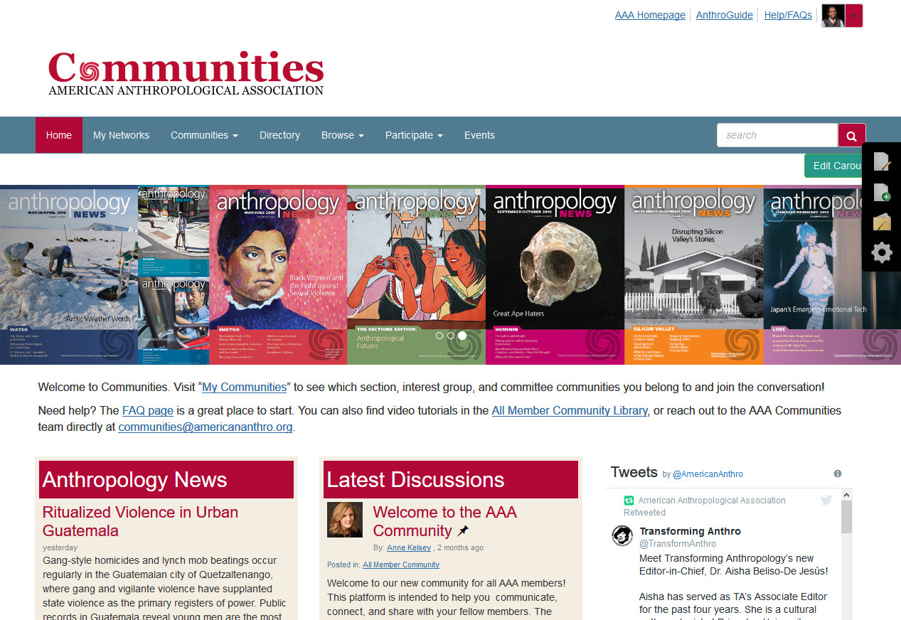screenshot of Communities website