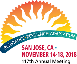 2018 AAA Annual Meeting Logo. Text: Resistance – Resilience – Adaptation. San Jose, CA; November 14-18, 2018; 117th Annual Meeting. The theme is in a blue arch underneath a yellow and orange semi-circle outlining a wavy silhouette of the sun.