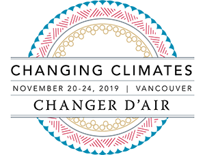 The 2019 AAA Annual Meeting Logo. Text: Changing Climates; November 20-24, 2019, Vancouver; Changer D'air. Three circles of blue fans, red lines in alternating triangles, and yellow alternating circles surround the text.