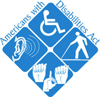 "4 blue squares in a diamond underneath text ""Americans with Disabilities Act."" Each square has one silhouette: the International Symbol of Access, an ear with curved sound waves by it, a person using a white cane, and three hands signing in ASL, ""ADA""."