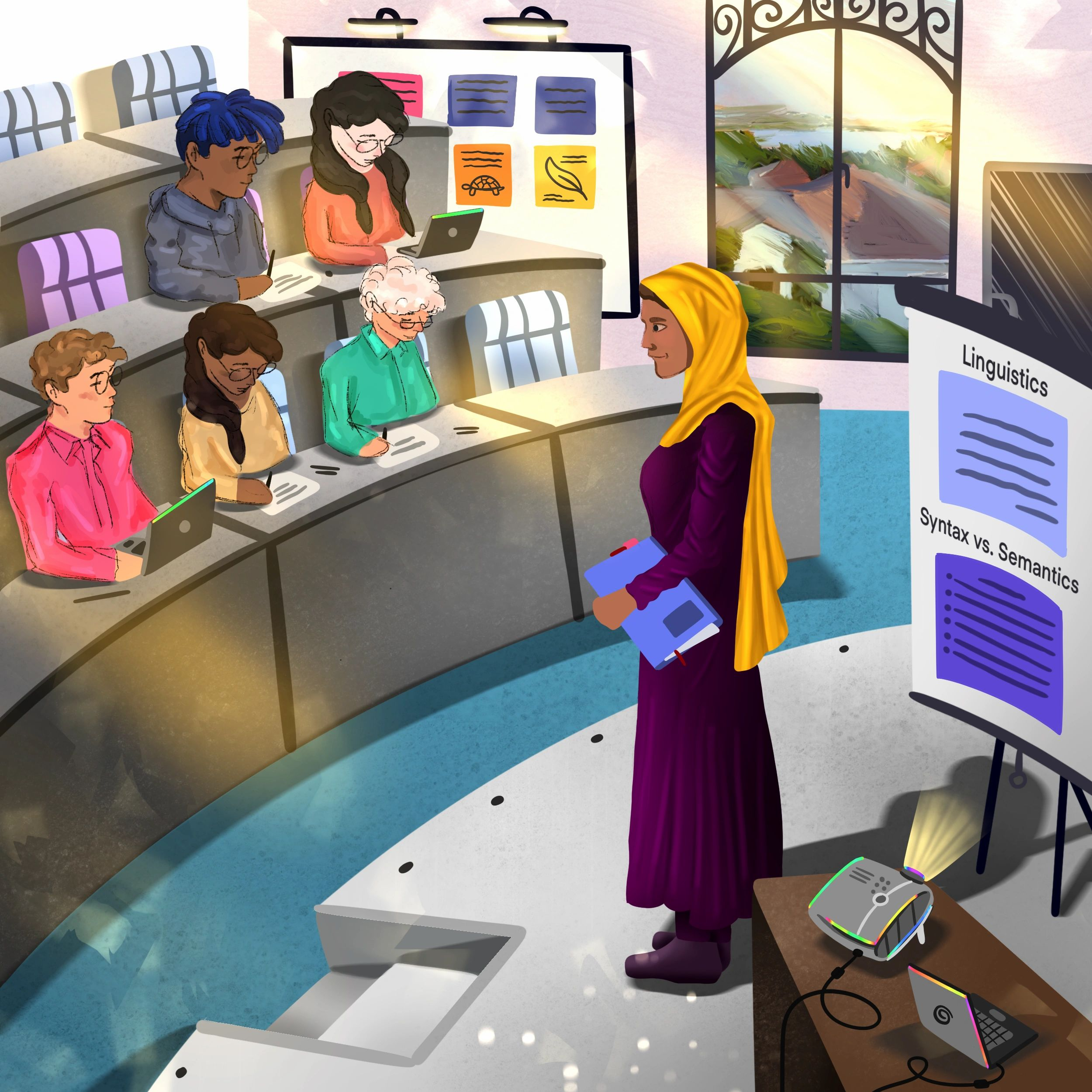 A brightly colored illustration showing a middle-aged woman wearing a purple dress and yellow headscarf. She is teaching a college lecture on Linguistics while standing in front of five seated students taking notes in a lecture hall