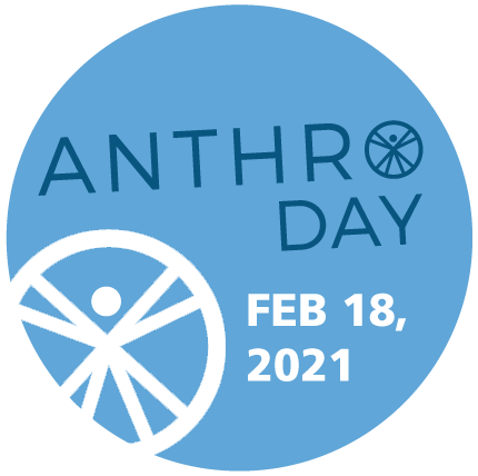 "Anthro Day 2021 Logo. Text reads ""Anthro Day Feb.18, 2021"""