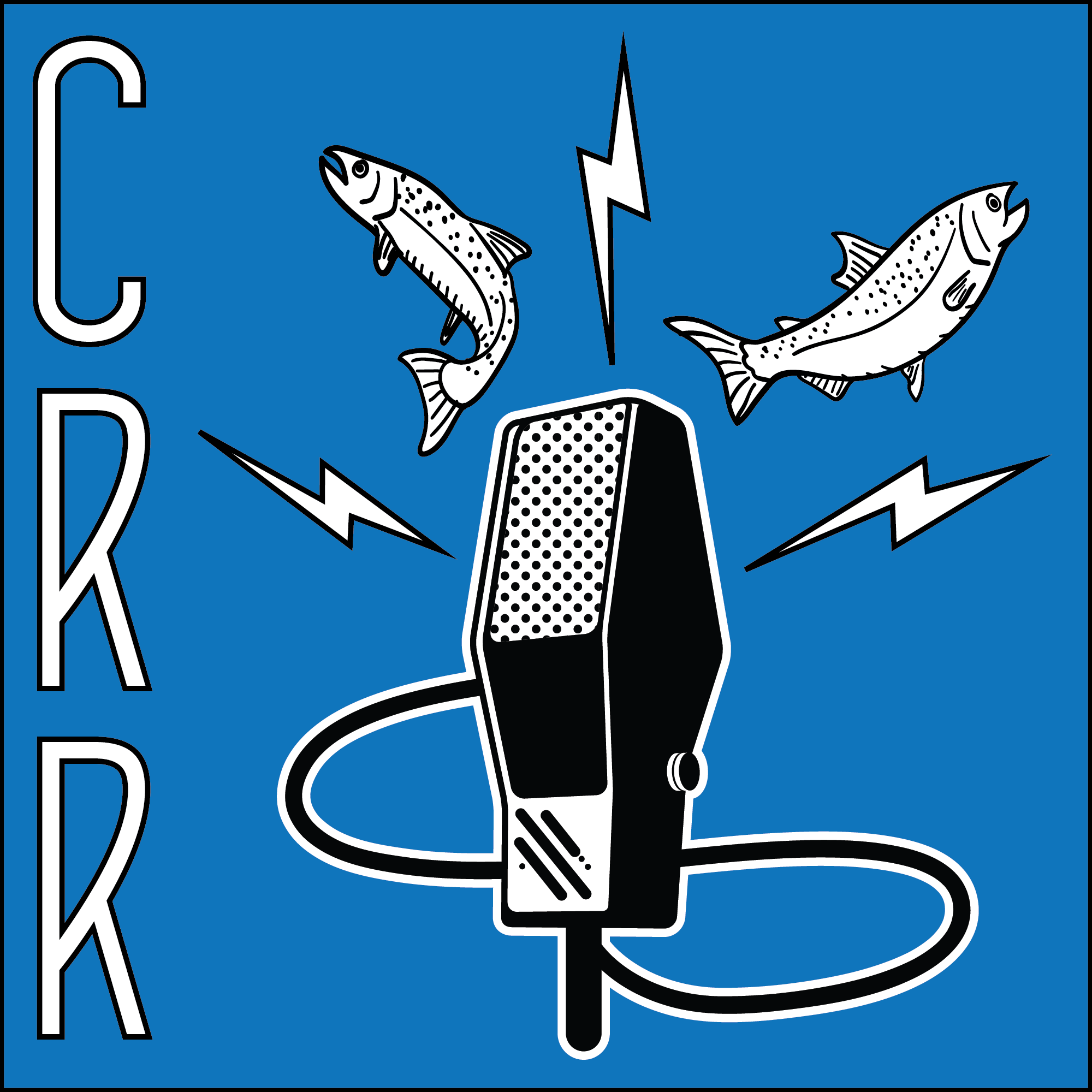 CRR logo of classic microphone emanating two fish and three electric bolts