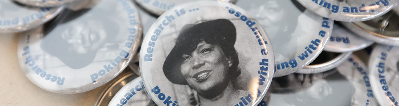 A button displaying an image of Zora Neale Hurston
