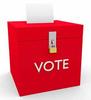 red vote box