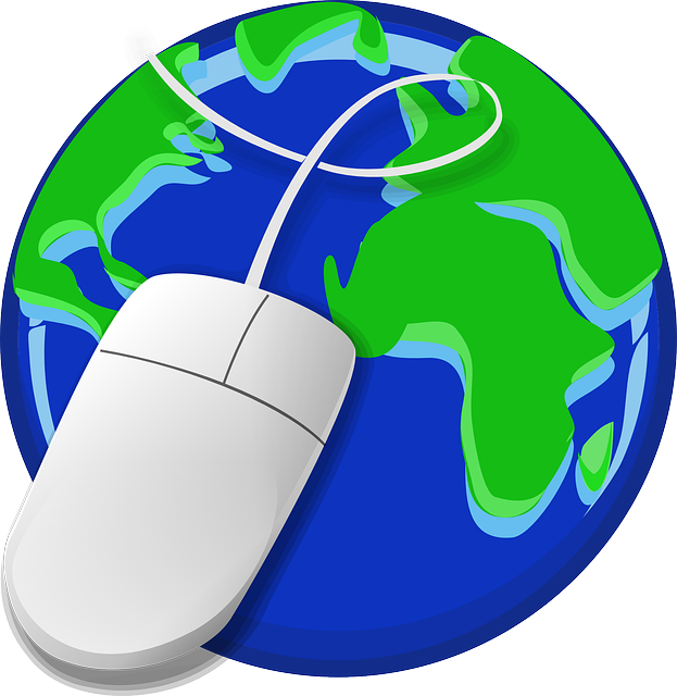 graphic of computer mouse over globe