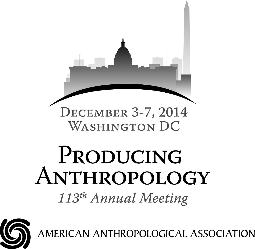 2015 AAA Annual Meeting Logo. Text: December 3-7, 2014; Washington DC; Producing Anthropology; 113th Annual Meeting. Text is placed under a black arch outline which is the foundation of a gray gradient silhouette of the Capitol and Washington Monument.