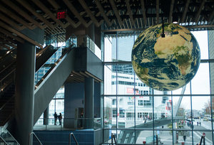 convention center image with globe hanging from ce