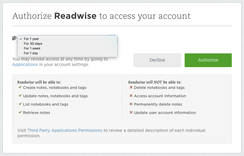 Readwise Evernote Login