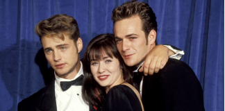 From left, Jason Priestley, Shannen Doherty, and Luke Perry on Aug. 25, 1991.