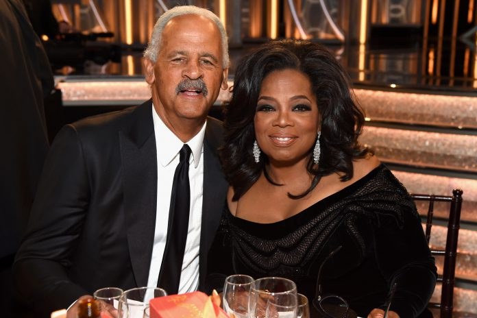 BEVERLY HILLS, CA - JANUARY 07: Stedman Graham (L) and Oprah Winfrey celebrate The 75th Annual Golden Globe Awards with Moet & Chandon at The Beverly Hilton Hotel on January 7, 2018 in Beverly Hills, California. (Photo by Michael Kovac/Getty Images for Moet & Chandon)